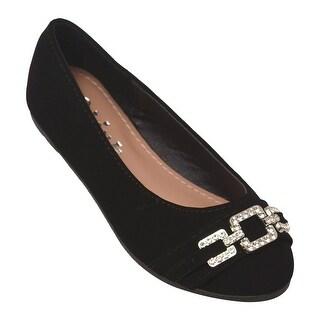 Girls Black Glitter Rhinestone Brooch Detail Casual Slip-On Flats