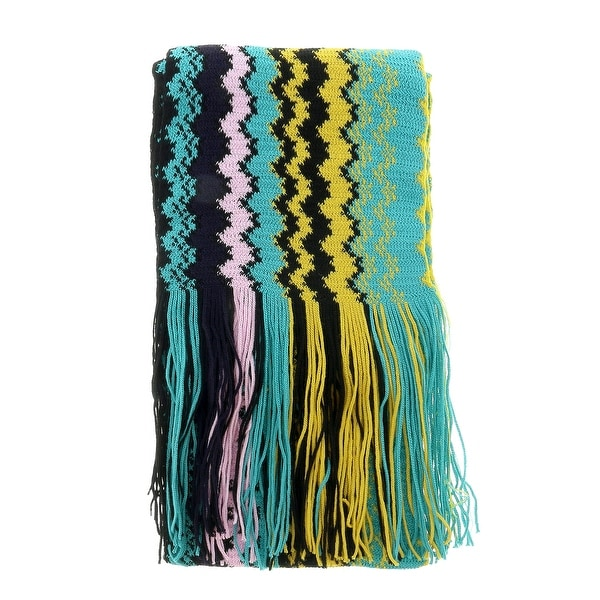 Missoni Yellow/Brown Long Zigzag Signature Fringe Scarf - 17/20-71. Opens flyout.