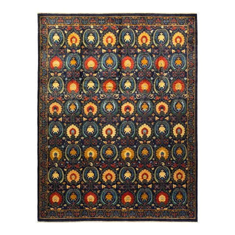 """Suzani, One-of-a-Kind Hand-Knotted Area Rug - Blue, 9' 10"""" x 13' 1"""" - 9' 10"""" x 13' 1"""""""