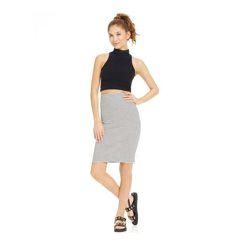 Ultra Flirt Womens Ribbed Midi Pencil Skirt