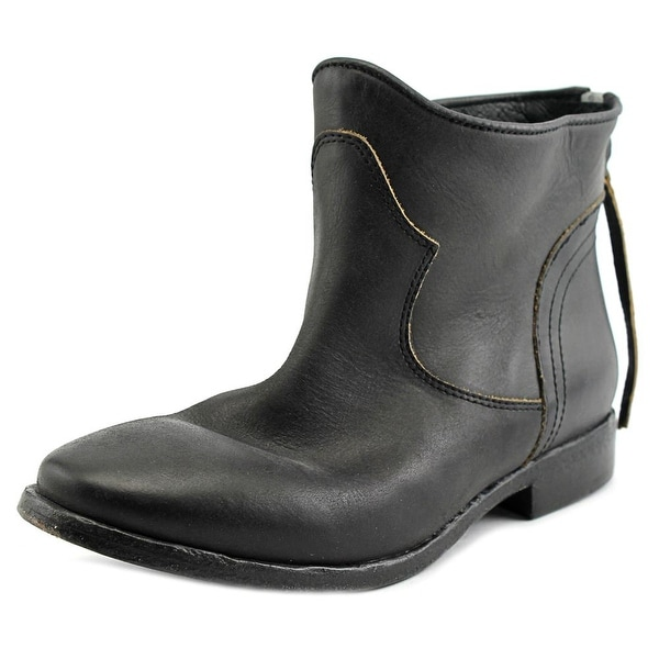 Lemare 533 Women Round Toe Leather Black Ankle Boot