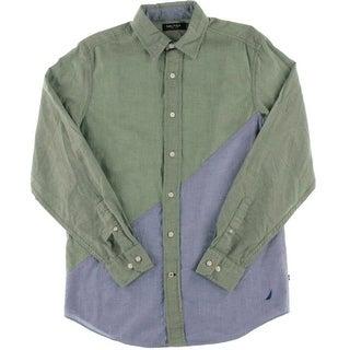 Nautica Mens Cotton Colorblock Button-Down Shirt