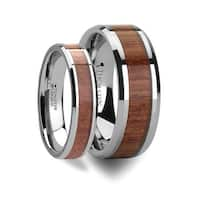 Matching Rings Set Tungsten Wedding Band With Bevels And Rosewood Inlay