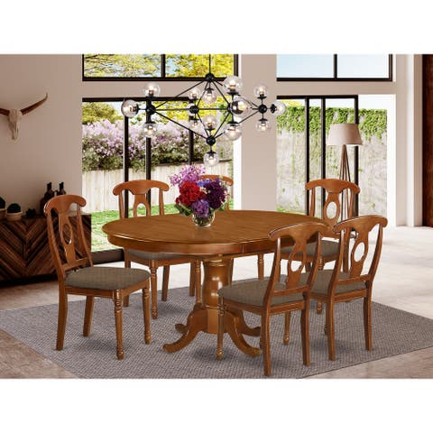 7-piece Dining Set - Oval Dining Table with Leaf and 6 Dining Chairs in Saddle Brown Finish