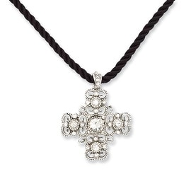 Silvertone Crystal Cross on Cord Necklace - 16in