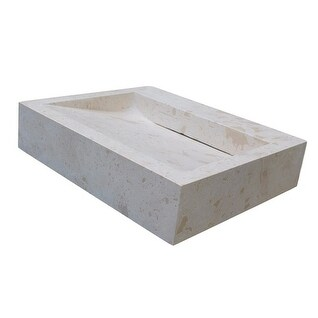 Linear Drain Rectangular Natural Stone Vessel Sink - Light Travertine