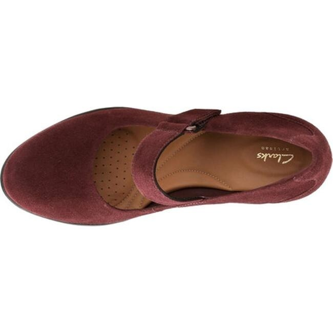 Clarks Women's Adya Clara Mary Jane Burgundy Suede