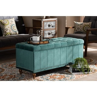 Theodore Teal Blue Velvet Fabric Button-Tufted Storage Ottoman Bench