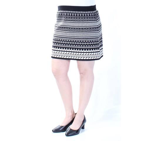 DKNY Womens Black Geometric Mini A-Line Skirt Size: L