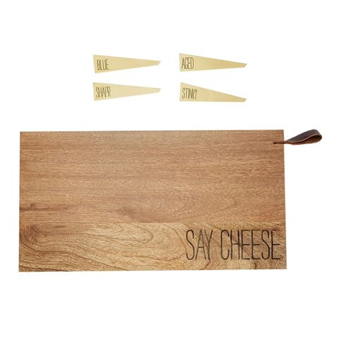 "Mud Pie Say Cheese Cheese Board Set - Mango Wood Board & 4 Metal Cheese Markers, 15"" x 8"" - 15 in. x 18 in. x 1 in."