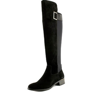 Calvin Klein Cylan Wide Calf Women Round Toe Suede Black Over the Knee Boot