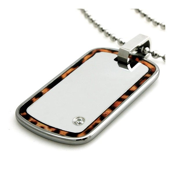 Tungsten Leopard Print Edge White Mirror Dog Tag ID Pendant - 24 inches