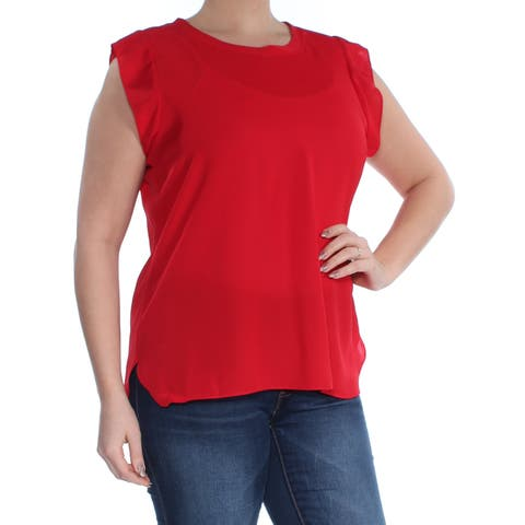 DKNY Womens Red Cap Sleeve Jewel Neck Top Size: L