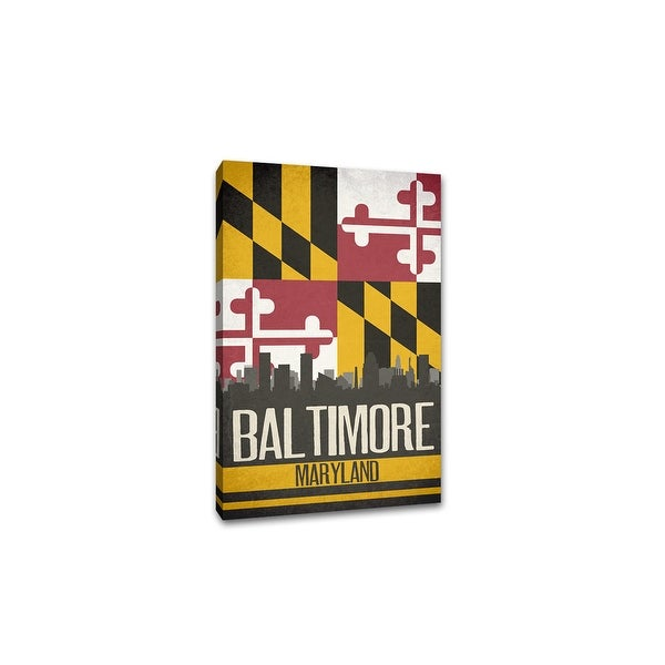 Baltimore - State Flag Skylines - 20x30 Gallery Wrapped Canvas Wall Art