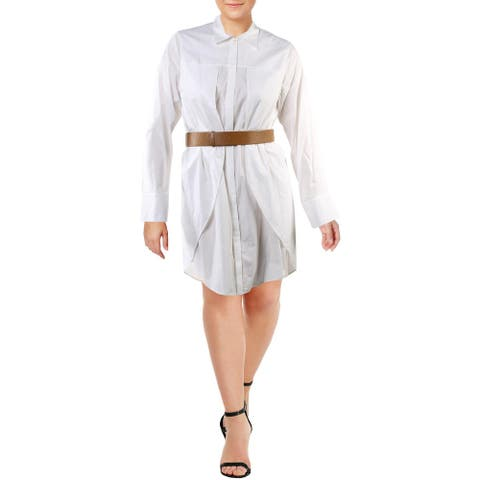 Halston Heritage Womens Shirtdress Long Sleeve Button Front - White - 14