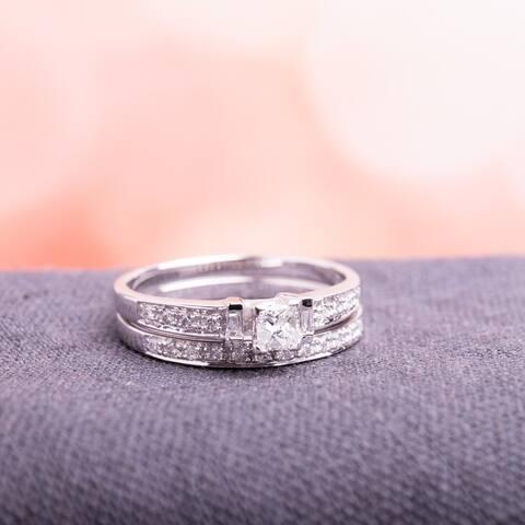 Miadora 10k White Gold 1/3ct TDW Diamond Bridal Ring Set