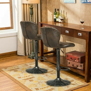Set of 2 Adjustable Swivel Hot-stamping Bar Stools with Backrest