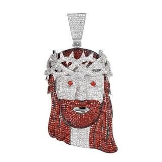 Red White Lab Diamond Jesus Piece Pendant Full Iced Out Hip Hop Custom Men