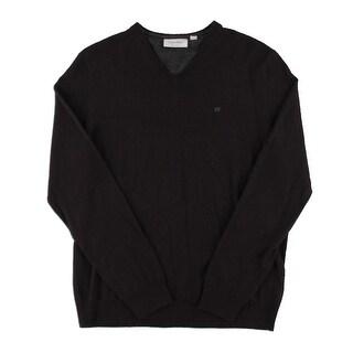 Calvin Klein Mens Pullover Sweater Merino Wool V-Neck - M