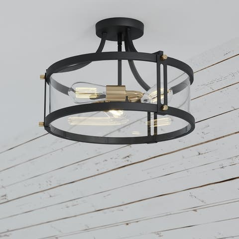 Holbrook 15.75-in W Industrial Semi Flush Mount Ceiling Light Clear Glass