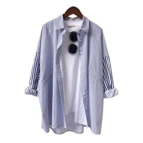 QZUnique Women's Summer Blouse Stripes Pattern Long Sleeve Turn Down Collar Loose Shirt