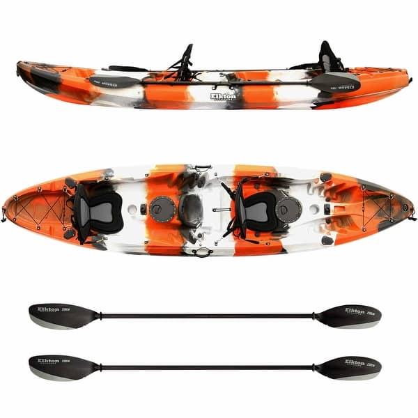 Elkton Outdoors Tandem Fishing Kayak 12 2 Foot Sit On Top Fishing Kayak With Eva Padded Seats Orange