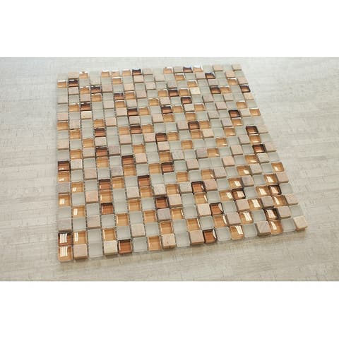 "TileGen. Square 5/8"" x5/8"" Glass and Stone Mosaic Tile in Beige Wall Tile (10 sheets/9.5sqft.)"