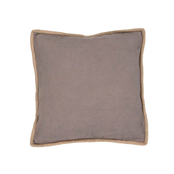 """22"""" Beige with Tan Trim Solid Square Decorative Throw Pillow"""