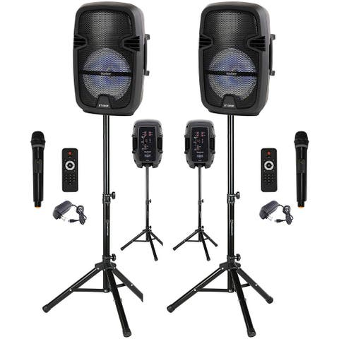"""Pair of BT-08SPS Boytone 8"""" Portable Bluetooth PA Speaker, Rechargeable, Karaoke, Wireless Microphone, TWS (Wireless) with Stand"""