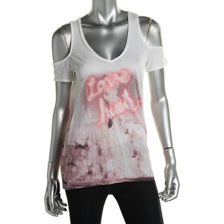 Guess Womens Juniors Slub Graphic Tank Top - M