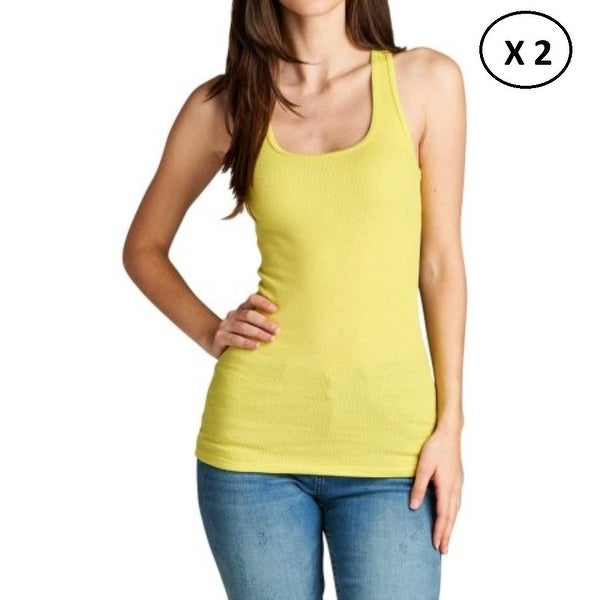 032553bfd58 Pack of 2 Women Tank Tops 100% Cotton (Yellow, Medium)