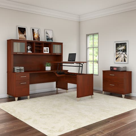 Copper Grove Shumen 72-inch Sit to Stand L-Desk with Hutch and Cabinet