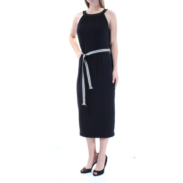 d29314e929 Shop TOMMY HILFIGER Womens Black Tie Sleeveless Jewel Neck Tea Length  Sheath Evening Dress Size  10 - On Sale - Free Shipping On Orders Over  45  - Overstock ...