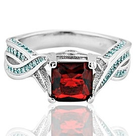 1.5ctw Princess Cut Engagement Ring Simulated Ruby and White Cz 7mm Wide Sterling Silver