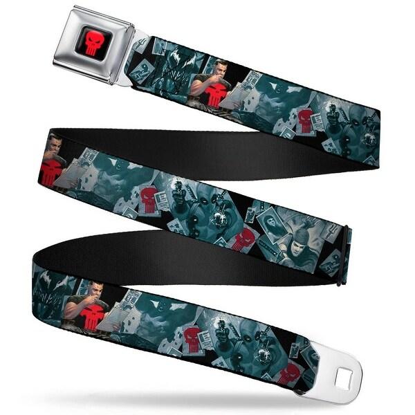 Marvel Universe Punisher Logo Full Color Black Red Stone Punisher Logo Seatbelt Belt
