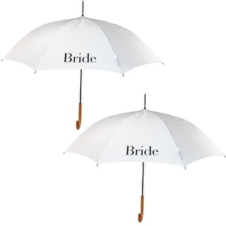 ShedRain Women's Bride Wedding Stick Umbrellas with Hook Handle (2 Pack) - bride and bride - One Size
