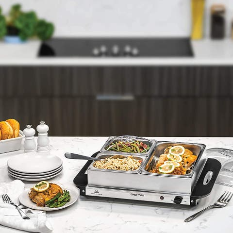 Chefman Electric Buffet Server + Warming Tray, Stainless Steel