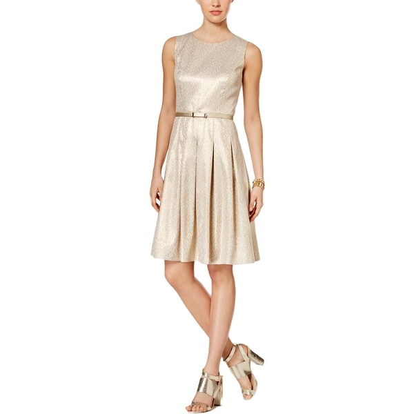 Shop Tommy Hilfiger Womens Party Dress Metallic Jacquard