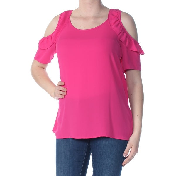 8a47284a37f4 Shop NY COLLECTION Womens Pink Ruffled Cold Shoulder Darted Keyhole Back  Short Sleeve Scoop Neck Blouse Evening Top Size: M - Free Shipping On Orders  Over ...