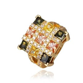 Gold Plated Rainbow Cubed Cocktail Ring