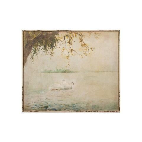 Vintage Swans Wood Framed Wall Decor