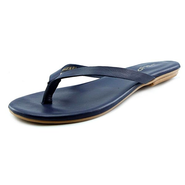 J/Slides Cuomo Women Open Toe Leather Blue Slides Sandal