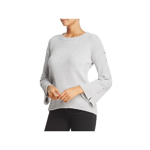Heather B Womens Sweater Lace Up Hi-Low - Silver