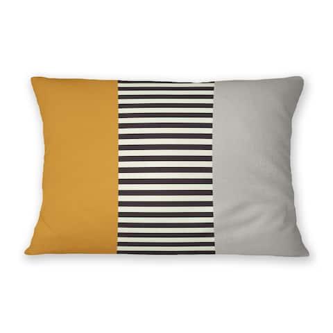 EDDA GREY & ORANGE Indoor Outdoor Lumbar Pillow By Becky Bailey