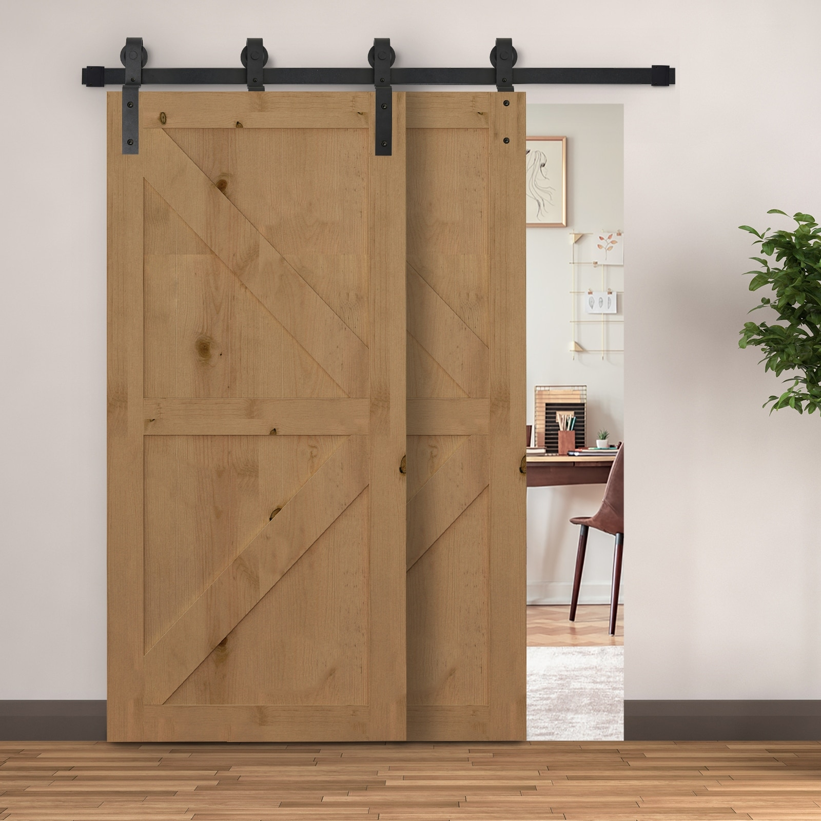 HOMCOM 6 FT Modern Antique Style Sliding Barn Wood Door Hardware Kit Closet Set