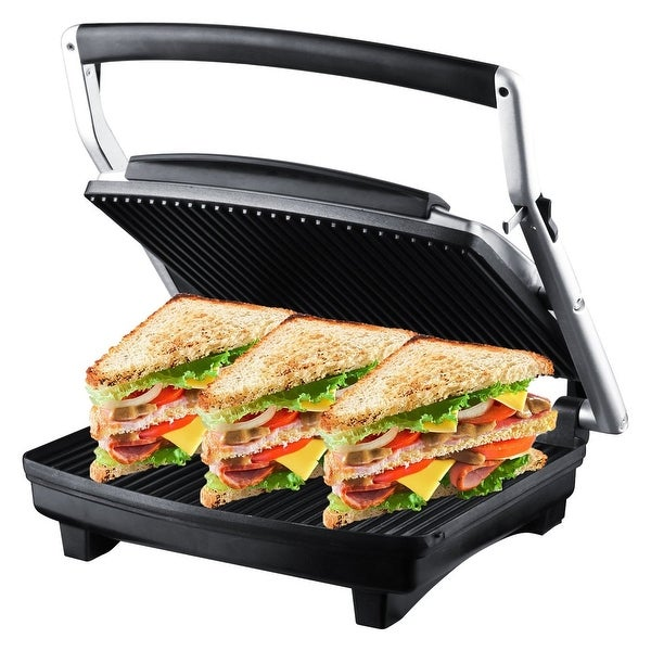 ZZ S677 Gourmet Grill Panini and Sandwich Press with Large Cooking Surface 1500W, Silver