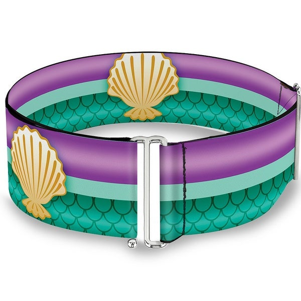 Little Mermaid Stripe Shell Purple Green Gold Cinch Waist Belt ONE SIZE