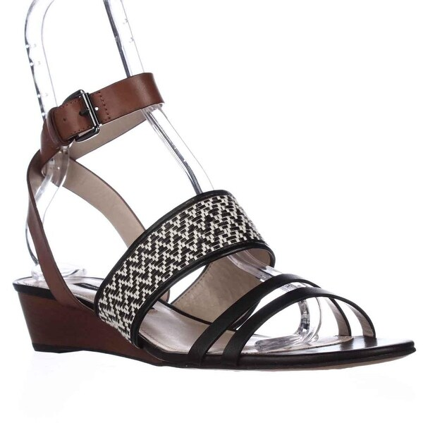 French Connection Wiley Ankle-Strap Sandals, Black/White/Tan - 10 us