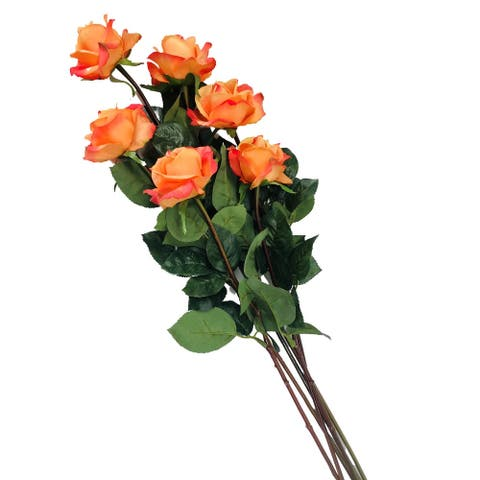 """Caroline Rose Real Touch Coral 27"""" Set of 6 Artificial Stems - 27"""