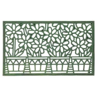 "Spring Flowerpots Doormat - Cut Out Design Welcome Mat - Green 29 1/2"" x 17 3/4"" - 29.5 in. x 17.75 in."